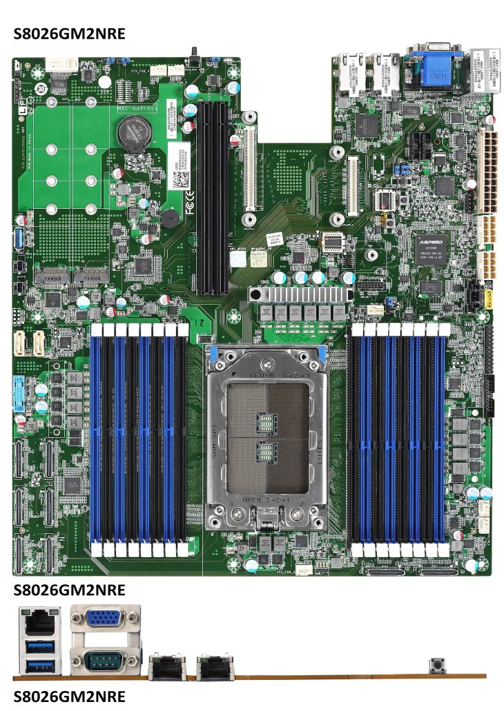 Photograph of TYAN Tomcat SX S8026-LE  Single Socket AMD EPYC Server Motherboard  Up to 32 CPU Cores / 64 Threads  16 DIMM slots supporting up to 2TB DDR4 RAM  (2) 80-Pin Oculink connectors with 4 NVMe or 16 SATA ports  (2) NVMe 2280 / 22110 M.2 ports  (2) PCIe x24 riser card slots  OCP v2.0 x16 LAN Mezzanine  AST2500 BMC with Redfish support